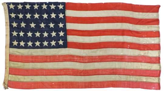 Militaria, Civil War Period 34-Star American Flag