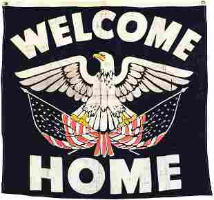 "Militaria, WWII ""Welcome Home"" Banner, Rare paint"