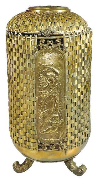 Victorian Gilt Bronze Coal Hopper, basket-weave