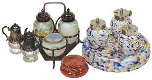 Victorian Glassware (4), 4-pc spatterware condiment set