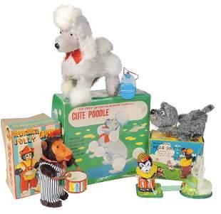 Toys (4), Japanese litho on tin, windup Drummer Bear in