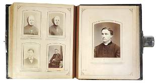 Victorian Leather Photo Album w/82 images, tooled &