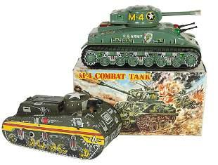 Toy Army Tanks (2), Marx 5A litho on tin windup