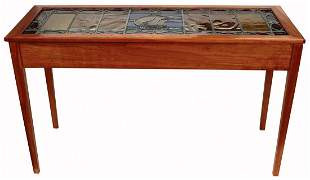 Arts & Crafts Stained Glass Transom Window Side Table,