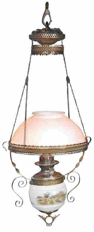 Lighting, Victorian Hanging Parlor Lamp, milk glass