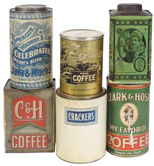 "Country Store Coffee Tins (6), paper labeled ""Clark &"
