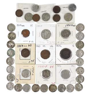 Coins (41), misc nickels, (1) Liberty, (19) Buffalo,