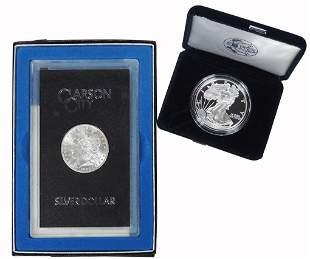 Coins, Silver Dollars (2), 1882 CC Morgan, GSA Hoard,