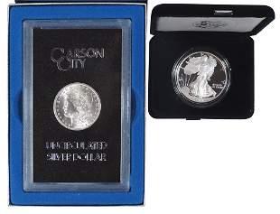 Coins, Silver Dollars (2), 1883 CC Morgan, GSA Hoard &
