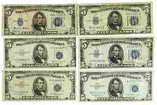 Currency, Lincoln Five Dollar Silver Certificate Bills