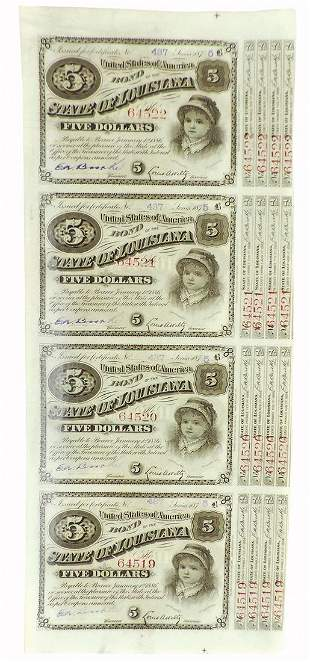 Currency, uncut sheet of (4) State of Louisiana Five