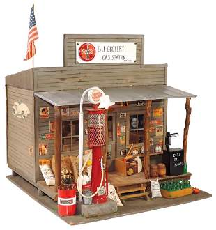 """Toy Country Store, artist built """"B-J Grocery Gas"""