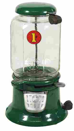 Coin-Operated Gumball Vendor, Columbus 1 Cent Model M,