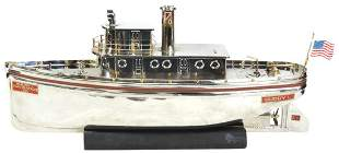 Toy Boat, Buddy L Tug Boat, No. 3000, pressed steel mfg