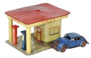 Toy Filling Station, GNOM, mfgd by Lehmann-Germany,