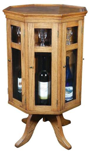 Revolving Wine Cabinet, high quality crafted solid oak