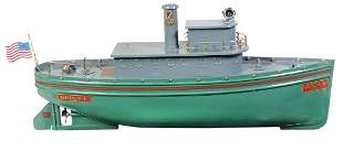 Toy Boat, Buddy L Tug Boat, No. 3000, pressed steel,