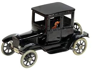 Toy Car w/Driver, Bing Ford Model T Coupe, painted tin