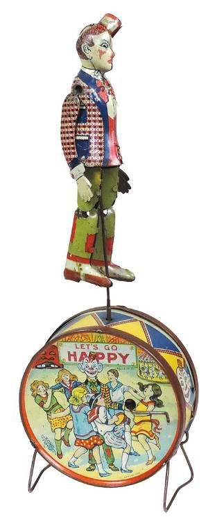 """Toy """"Happy"""" the dancing clown, Scarce, litho on tin"""