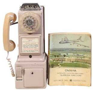 Coin-Operated Telephone & Directory, wall mount rotary