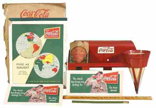 Coca-Cola (3), metal bottle bag/cup holder w/4 paper