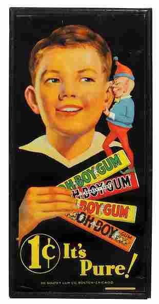 Chewing Gum Sign, Oh Boy 1 Cent It's Pure, litho on tin