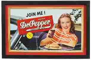 "Soda Fountain Sign, Dr. Pepper ""Join Me"", litho/cdbd"