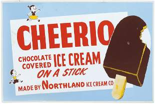Soda Fountain Sign, Cheerio Ice Cream On A Stick, litho