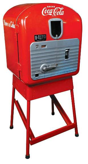 Coca-Cola Coin-Operated Vending Machine on Stand,