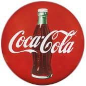 Coca-Cola Sign, porcelain button w/bottle, has orig