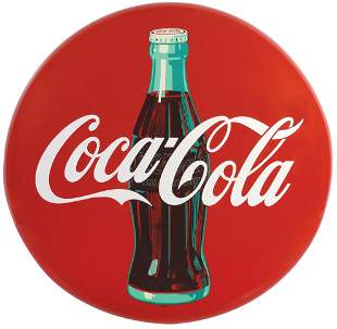 Coca-Cola Sign, round metal disc (button) w/bottle,