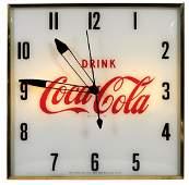 "Coca-Cola Clock, Pam lightup, square case w/""Drink"