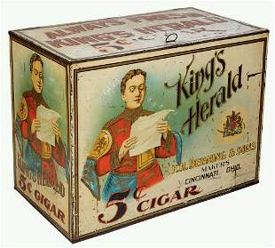Cigar Store Bin, King's Herald 5 Cent Cigar, F. H.