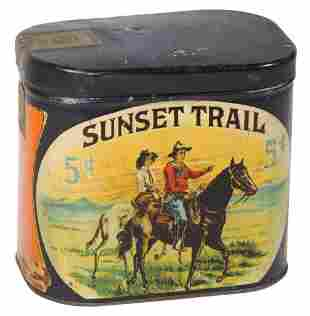 Tobacco Tin, Sunset Trail, 5 Cent, great litho on tin