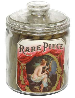 Tobacco Jar w/Nude Label, early glass jar embossed