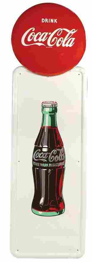 Coca-Cola Sign, self-framed metal pilaster sign