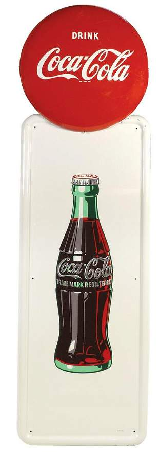 Coca-Cola Sign, self-framed metal pilaster sign