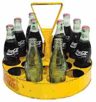 Coca-Cola Vendor's Carrier w/Straw Holder, Rare, metal