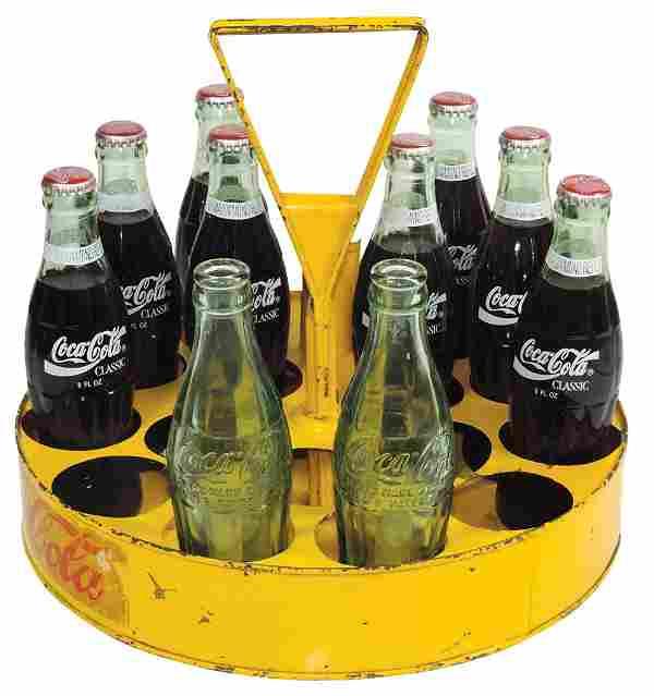 Coca-Cola Vendor's Carrier w/Straw Holder, Rare, metal