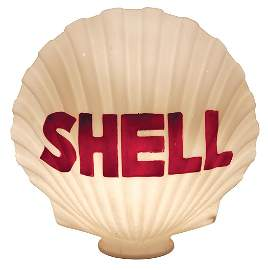 Gasoline Globe, Shell, one piece molded milk glass,