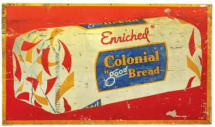 Country Store Sign, Colonial Bread, litho on tin