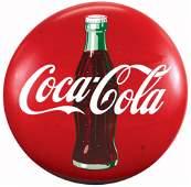 Coca-Cola Sign, porcelain button, factory notched rim