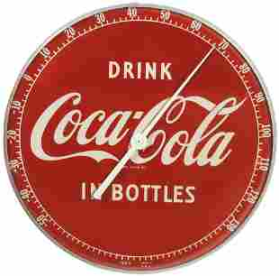 Coca-Cola Thermometer, metal frame w/curved glass