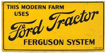 """Farm Sign, Ford Tractor """"Ferguson System"""", litho on"""