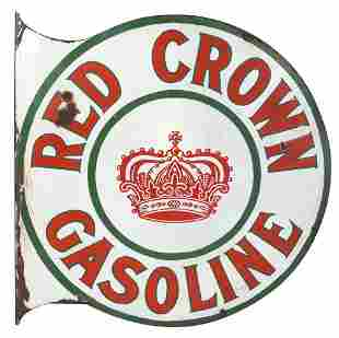 Petroliana Sign, Red Crown Gasoline double-sided