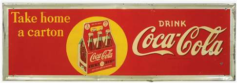 "Coca-Cola Sign, ""Take Home a Carton"", self-framed"