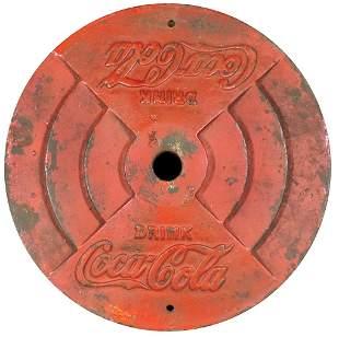 "Coca-Cola Cast Iron Sign Base, embossed ""Coca-Cola"" in"