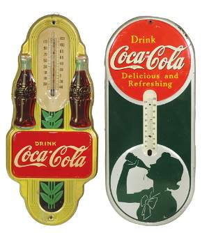 """Coca-Cola Thermometers (2), """"Silhouette Girl"""" litho on"""