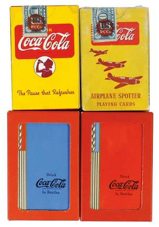 Coca-Cola Playing Card Decks (4), 1939 Blue & Red Wheat