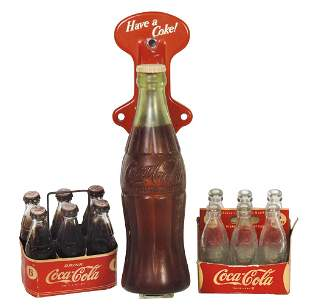 Coca-Cola Smalls (3), door handle & miniature 6-pack